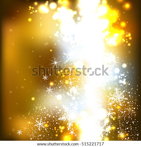 Gold shiny background with snowflakes for Christmas and New Year