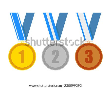 gold silver and bronze award medals on a blue various ribbons. for a win in sport or business. isolated on white background. vector illustration