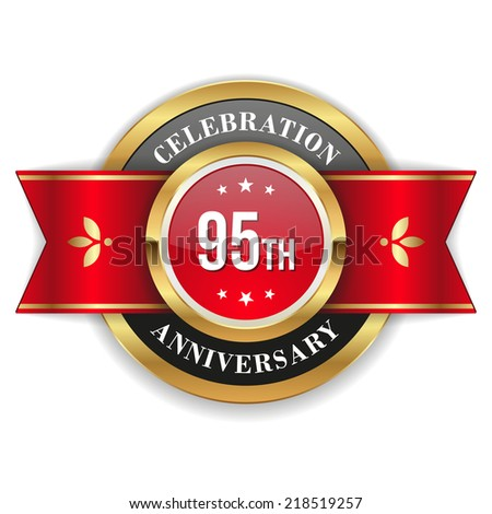 Gold 95th anniversary badge with red ribbon on white background