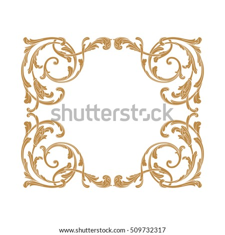 Gold vintage baroque element ornament retro pattern antique style acanthus. Decorative design element filigree calligraphy vector. You can use for wedding decoration of greeting card and laser cutting