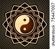 gold yin yang symbol - stock photo