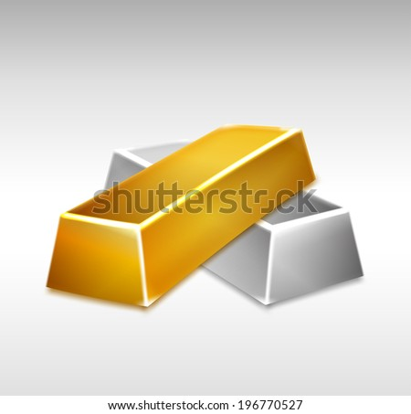 Golden and Silver Bars. Vector
