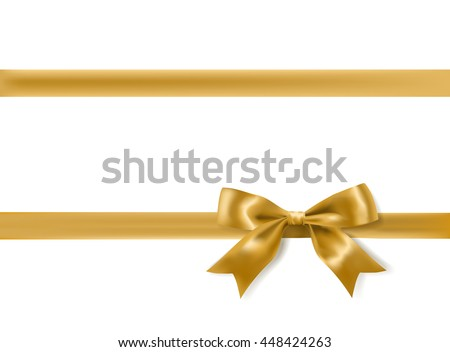 golden bow decoration on white. vector