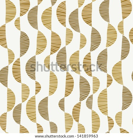 Golden curly seamless texture. Wavy endless pattern. Template for design fabric, backgrounds, covers, wrappers