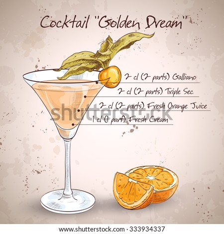 Golden Dream is a cocktail that contains Galliano, Cointreau, fresh orange juice and fresh cream. It is classed as an after dinner drink.