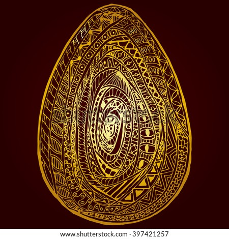 Golden easter egg isolated vector zentangl with lots of small swirling patterns in the center.
