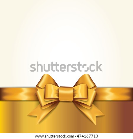 Golden gift bows with ribbons On White Background. Golden Bow. Vector Illustration.