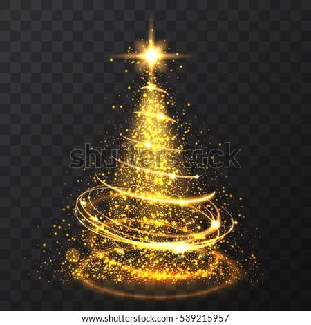 golden glitter bokeh lights and sparkle stars christmas tree on transparent background isolated light shining - Gold Christmas Tree Lights