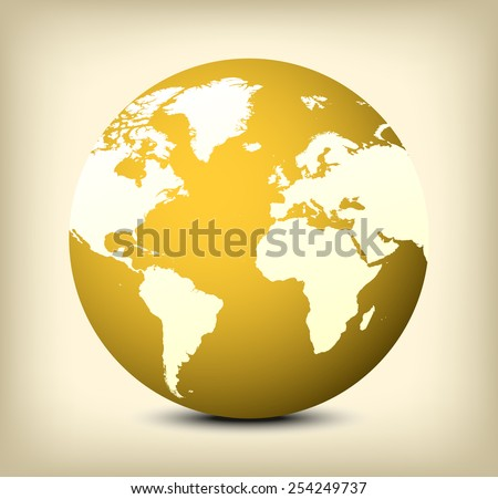 Golden globe icon with soft shadow on yellow background.