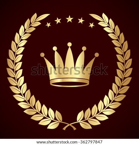 Crown crown laurel stock vector 192842711 shutterstock for Laurel leaf crown template