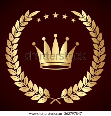 Crown crown laurel stock vector 192842711 shutterstock for Laurel leaf crown template