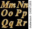 Golden metallic shiny letters M, N, O, P, Q, R  - stock photo