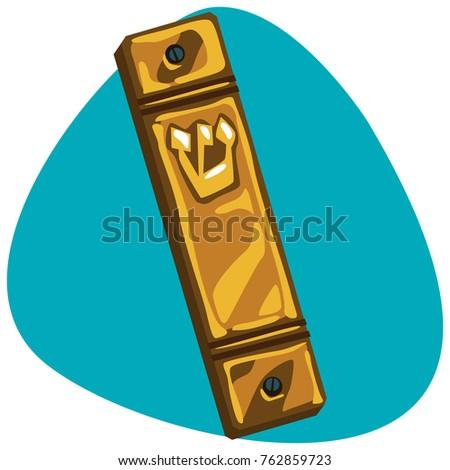 mezuzah hebrew letter shin shaddai hand stock vector 762859720