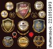 Golden premium quality retro vintage badges - stock