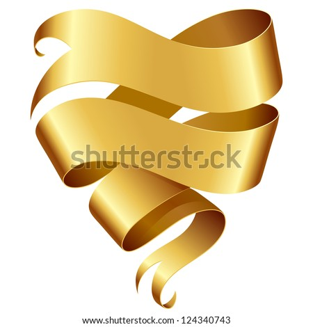 Golden ribbon banner in the shape of heart isolated on white background