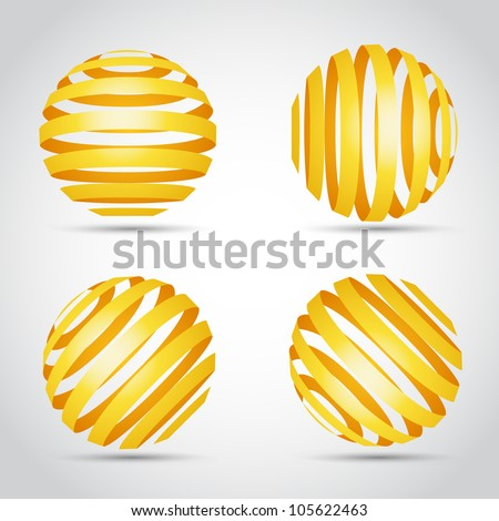 Golden stripes planet, Polygonal sphere of information, Sphere 3d sign, Sphere geometry element, Sphere line icon, Sphere polygon sign, Vector illustration