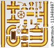 Golden Vector Pipeline Elements - stock photo