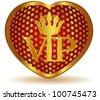 Golden VIP heart.Vector - stock photo