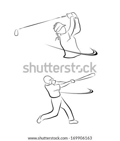 Golf And Softball Sport Symbol Collection