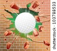 Golf ball breaking through red brick wall - stock photo