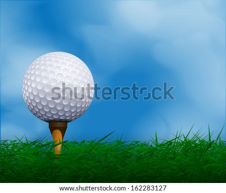 Golf ball in front of sky. Golf background.