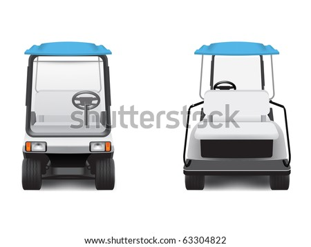 Golf cart, front and rear views.