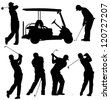 Golf Player Silhouette on white background - stock photo