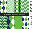 Golf Theme Chevron and Argyle Patterns in Grass Green, Navy Blue and White with Lime Stripe. Pattern Swatches made with Global Colors - easy to change all patterns in one click. - stock vector