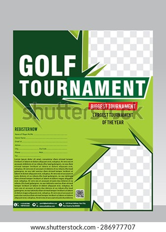 Flyer Golf Tournament Invitation Template Vector Stock Vector