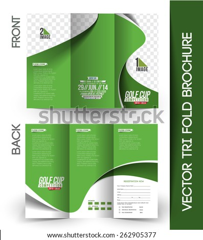 Set Golf Tournament Front Back Flyer Stock Vector
