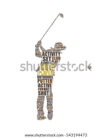 golfer silhouette vector tag cloud illustration