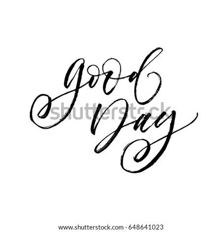 Happy Saturday Hand Lettered Quote Modern Stock Vector