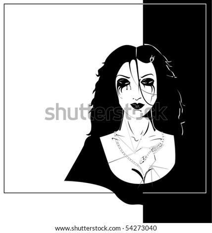 Gothic Woman With Skeleton Of Little Dragon On Her Neck And Breast On black And White Background - vector drawning