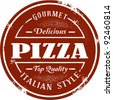Gourmet Pizza Vintage Stamp - stock vector