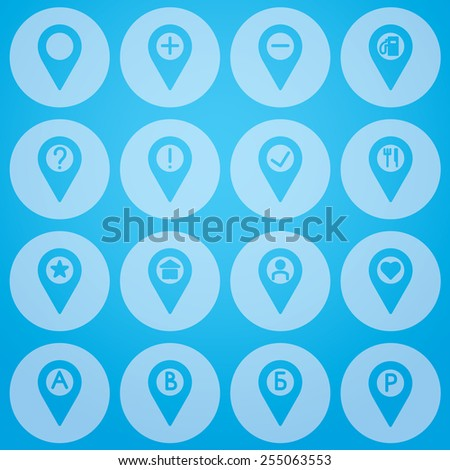gps points icon set