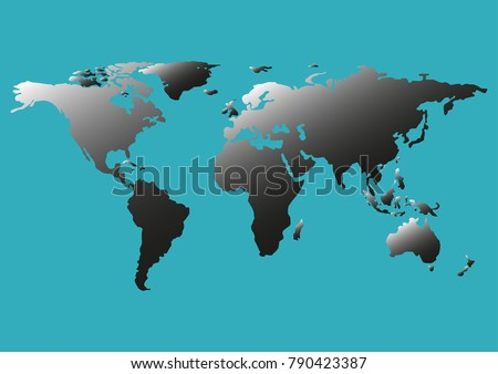 Gradient Blue Blank World Map Isolated Stock Vector - Blank world map green