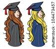 Graduation girls - vector illustration - stock vector