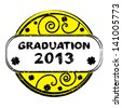 Graduation 2013 grungy stamp with spirals and clovers isolated on white - stock vector