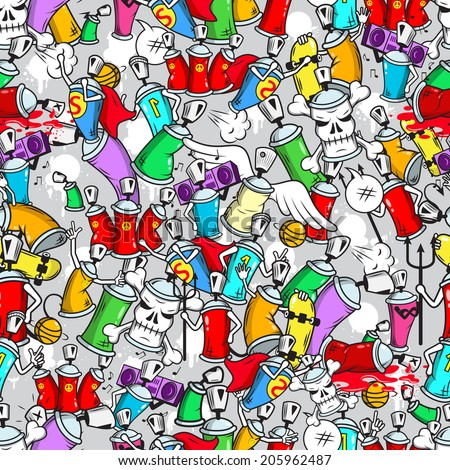 Graffiti art aerosol spray paint underground wall street youth characters seamless wrap paper pattern grunge vector illustration