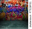 Graffiti wall background, urban street grunge art vector design - stock photo