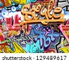 Graffiti wall. Urban art vector background. Seamless hip hop texture - stock vector