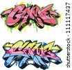 Graffito text design - game. Color vector illustration. - stock photo