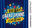 Grand opening with blue curtain background. Vector illustration - stock photo