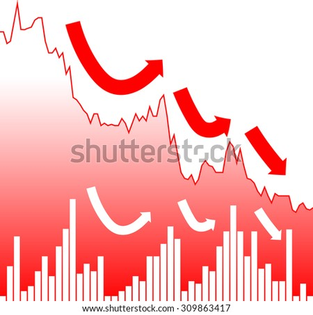 Graph chart of stock market investment trading, downtrend bearish