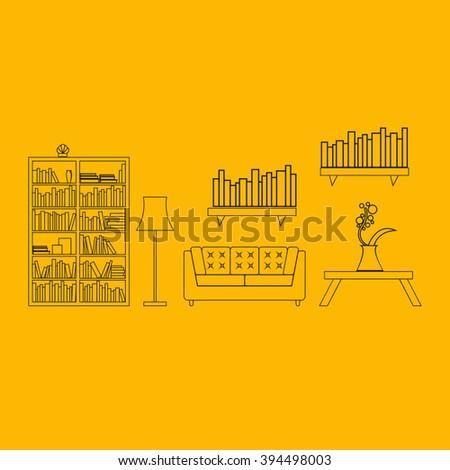 interior design concept page vector illustrationmodern home furniture living room stock
