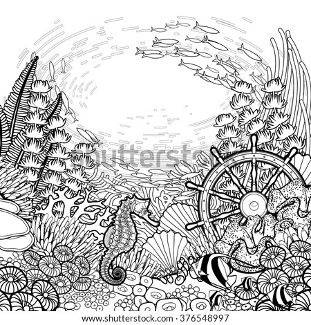 Graphic sea life collection vector ocean stock vector for Graphic design coloring pages