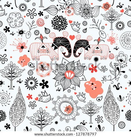 graphic floral texture with elephants