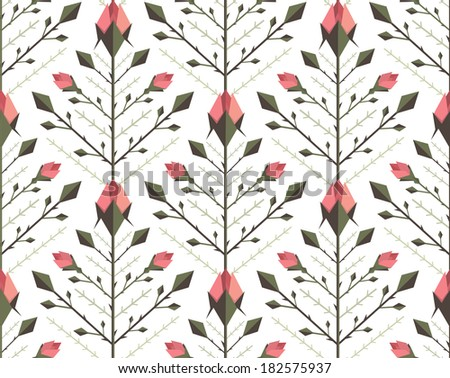Graphic Roses Pattern Background. Floral flat backdrop tileable illustration. Vector EPS8.
