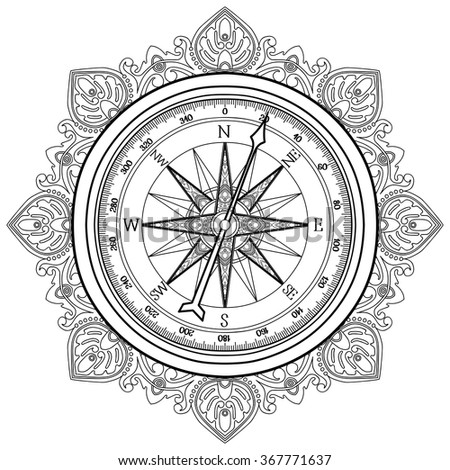 Graphic Wind Rose Compass Drawn In Line Art Style Nautical Vector Illustration Coloring Book