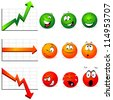graphs of stability, profit and falls with smiley faces with many expressions - stock photo